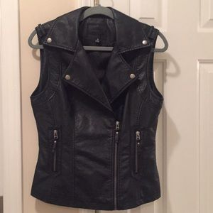 Faux leather black vest! Excellent condition!